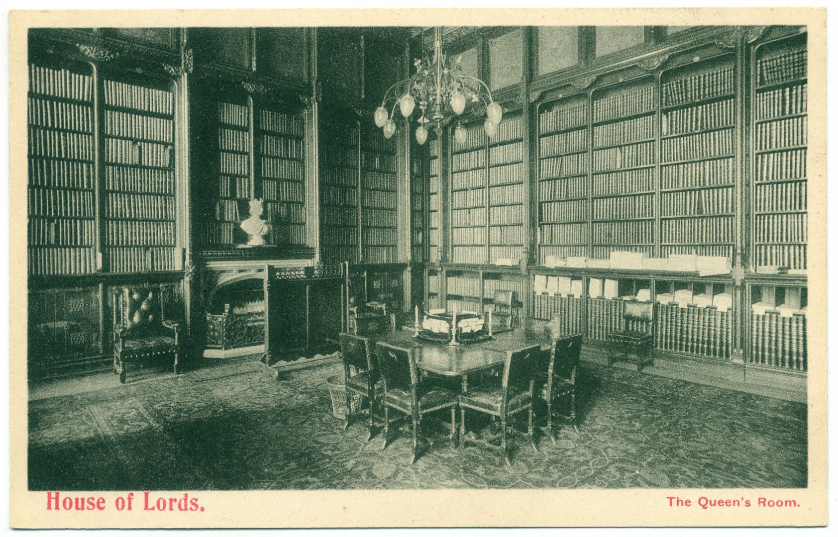 London: Palace of Westminster - House of Lords Library (Queens Room)