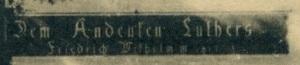 Städtische Volksbücherei Eisleben - Luther-Armenschule inschrift