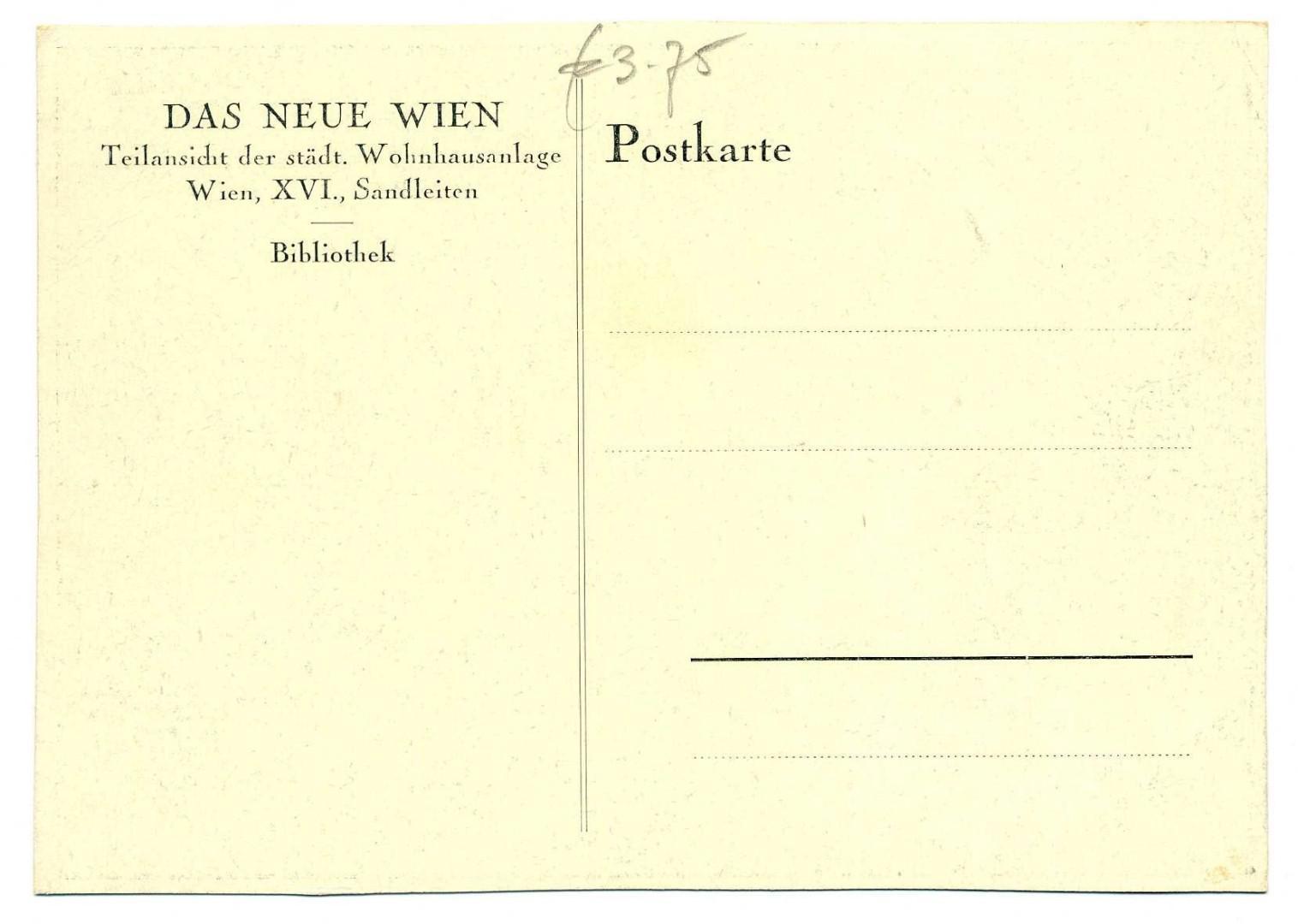 Wien Wohnhausanlage Sandleitenhof Arbeiterbibliothek r
